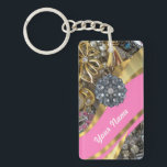 "Pink &amp; gold bling keychain<br><div class=""desc"">PERSONALIZE this pretty feminine girly pink swirl pattern &amp; gold bling jewelry with sparkly crystal glitter crystal and rhinestones diamante jewels and gold pattern  ,  with your own text,  name or monogram,  initials. 