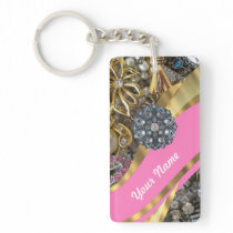 Pink & gold bling keychain