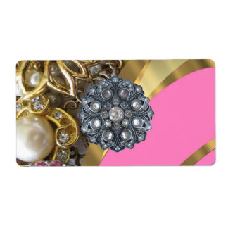 Pink & gold bling shipping label
