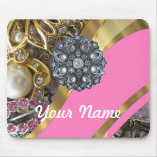 Pink & gold bling mouse pad