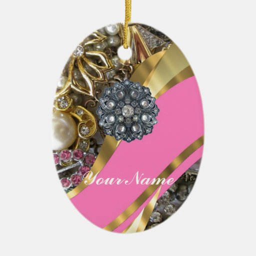Pink & gold bling Double-Sided oval ceramic christmas ornament