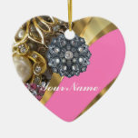 Pink & gold bling Double-Sided heart ceramic christmas ornament
