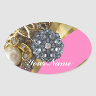 Pink & gold bling oval sticker