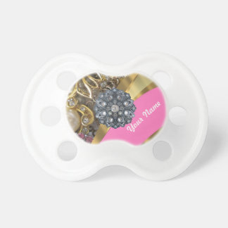Pink & gold bling pacifier