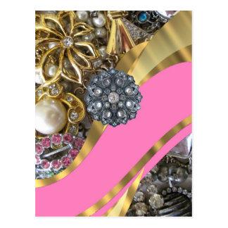 Pink & gold bling postcard