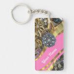 Pink & gold bling rectangular acrylic keychain