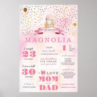Pink & Gold Boho Birthday Stats Milestone Poster
