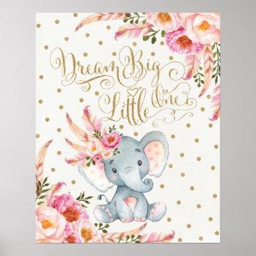 BlueBunnyStudio Pink Gold Boho Elephant Nursery Wall Art Print