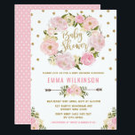 "Pink &amp; Gold Boho Floral Baby Shower Invitation<br><div class=""desc"">Sweet and girly baby shower invitation featuring pink &amp; blush watercolor floral wreath and gold confetti sprinkles</div>"
