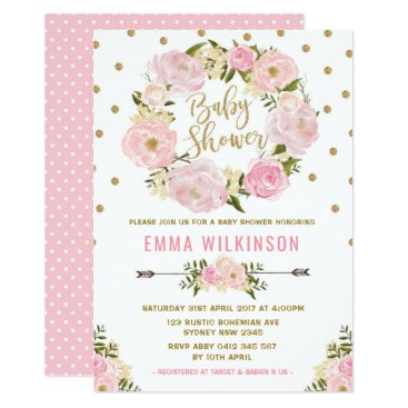 Toddler & Baby themed Pink & Gold Boho Floral Baby Shower Invitation