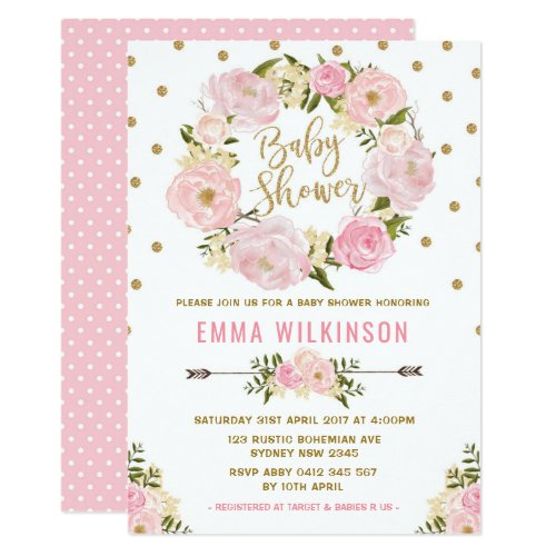Pink  Gold Boho Floral Baby Shower Invitation