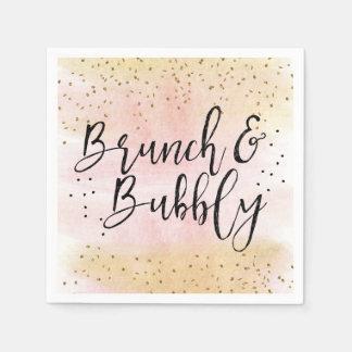 Pink Gold Brunch and Bubbly Bridal Shower Napkin