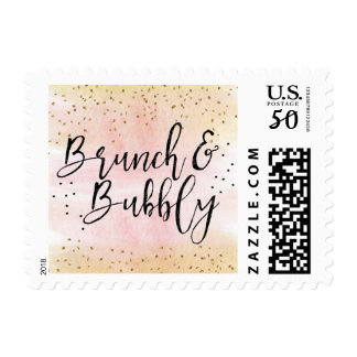 Pink Gold Brunch and Bubbly Bridal Shower Stamp