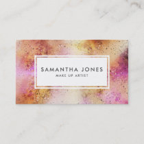 Pink Gold Brush Strokes Modern Make Up Artist Business Card