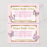 """Pink &amp; Gold Butterfly Baby Shower Diaper Raffle<br><div class=""""desc"""">Pink &amp; Gold Butterfly Baby Shower Diaper Raffle Cards. Send out these cars along with the baby shower invitations to ask each guest to bring a package of diapers. For each guest that bring diapers, have them sign their name and add the card into a raffle. While you are playing...</div>"""