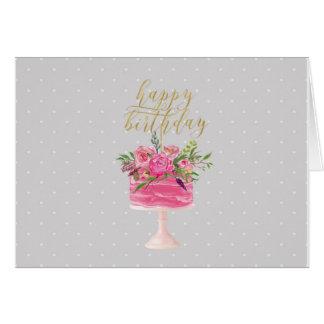 Pink gold cake Happy Birthday card