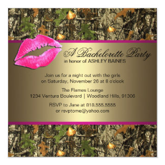 Pink & Gold Camo Bachelorette Party Invitations