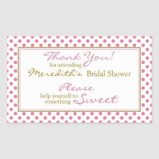Pink Gold Candy Buffet Bridal Shower Stickers