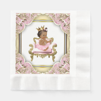 Pink Gold Chair Pearls Ethnic Girl Baby Shower Paper Napkin