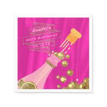 Pink Gold Champagne Elegant Birthday Party Paper Napkin
