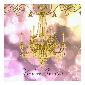 Pink Gold Chandelier All Occasion Party Card