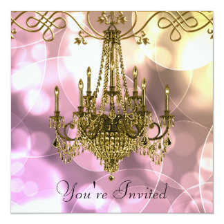 Pink Gold Chandelier Party Invitations