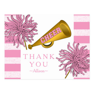 Pink | Gold Cheer Cheerleader Girl Birthday Party Postcard
