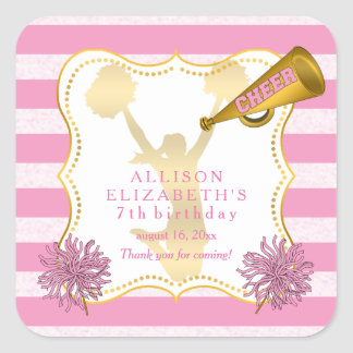Pink | Gold Cheer Cheerleader Girl Birthday Party Square Sticker