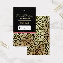 Pink Gold Cheetah Print Beauty Boutique Hang Tag
