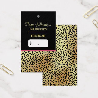 Pink Gold Cheetah Print Beauty Boutique Hang Tag