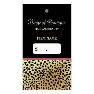 Pink Gold Cheetah Print Beauty Boutique Hang Tag Double-Sided Standard Business Cards (Pack Of 100)