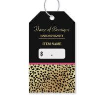 Pink Gold Cheetah Print Beauty Boutique Hang Tags