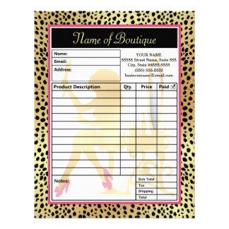 Pink Gold Cheetah Print Beauty Boutique Order Form Letterhead
