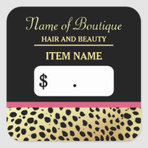 Pink Gold Cheetah Print Beauty Boutique Price Tags
