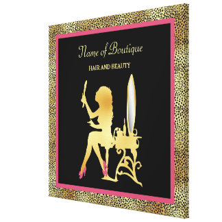 Pink Gold Cheetah Print Beauty Boutique Sign