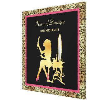 Pink Gold Cheetah Print Beauty Boutique Sign Canvas Print