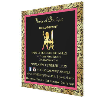 Pink Gold Cheetah Print Boutique Information Sign Canvas Print