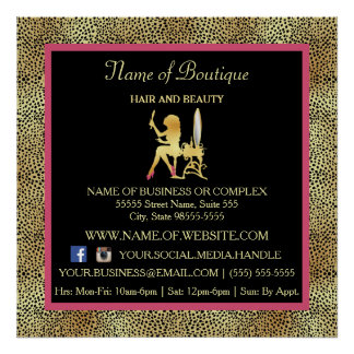 Pink Gold Cheetah Print Boutique Information Sign Poster