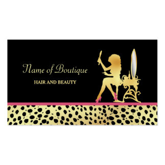 Pink Gold Cheetah Print Hair and Beauty Boutique Double-Sided Standard Business Cards (Pack Of 100)