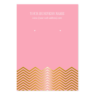 Pink Gold Chevron Custom Earring Card Large Business Card