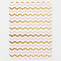 Pink & Gold Chevron Monogram Baby Blanket