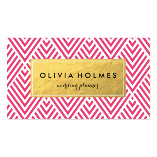 Pink & Gold Chevron Pattern Business Card
