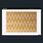"Pink &amp; Gold Chevron Pattern Laptop Skins<br><div class=""desc"">Pink &amp; Gold with Glitter Chevron Pattern</div>"