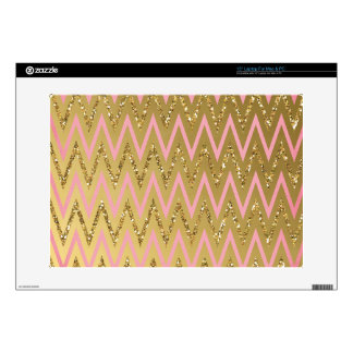 Pink & Gold Chevron Pattern Laptop Skins