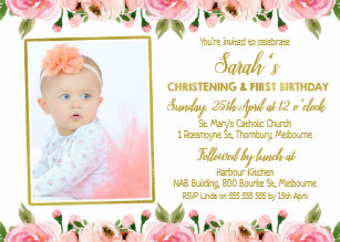 Gold And Pink Baptism Christening Invitations Zazzle