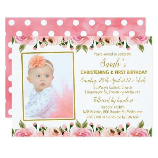 Pink Gold Christening 1st Birthday invitation Zazzlecom