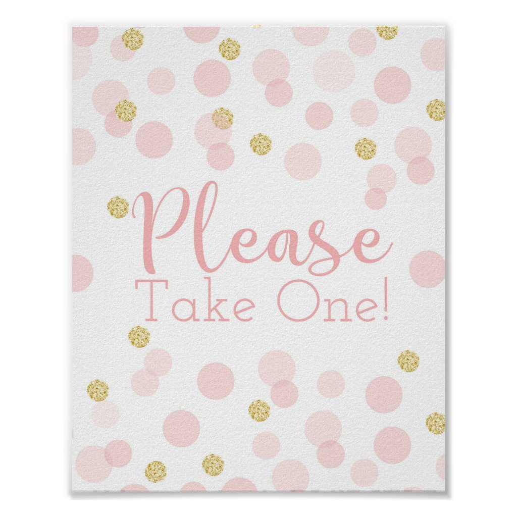 Pink Gold Confetti Baby Shower Take One Sign