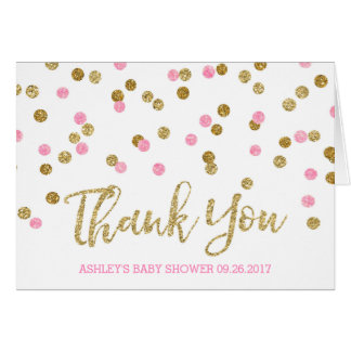 Pink Gold Confetti Baby Shower Thank You Card