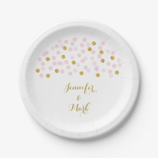 pink u0026 gold confetti bridal shower paper plates