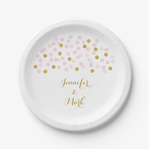 Pink & Gold Confetti Bridal Shower Paper Plates